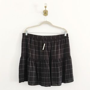 Madewell Windowpane Drop Hem Ruffle Skirt